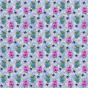 Blue Poppy Pink Anemone on Blue Smaller
