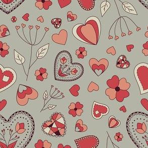 Grey pink hearts and flowers
