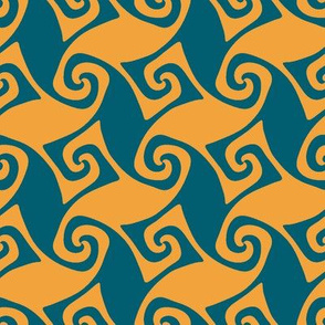 Portuguese trellis - lagoon teal and saffron yellow