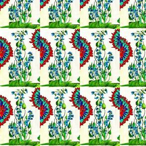 Aqua_ Red  _ Green Flower Burst  001-ed
