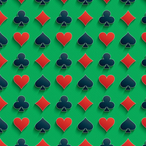 Playing Card Suits on Green Felt Casino