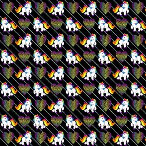 Glitter Stripe Rainbow Unicorns Small