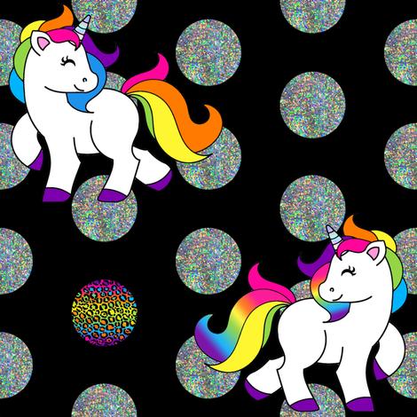 Rainbow Unicorn Dots fabric by heathertm13 on Spoonflower - custom fabric