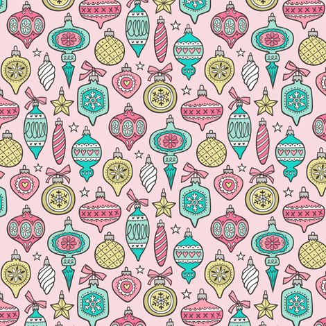 Vintage Christmas Holiday Ornaments & Stars Pink Mint Gold Yellow on Pink 50% Smaller fabric by caja_design on Spoonflower - custom fabric