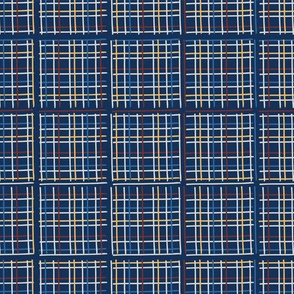 Navy Blue Criss Cross Weave Hand Drawn Vector Pattern Background