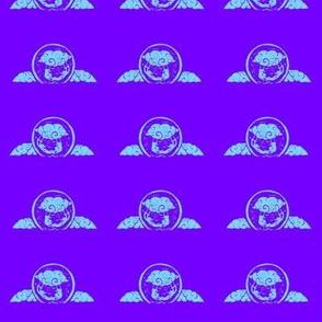 Cloud trapeze - block print--Sky blue on violet-ed