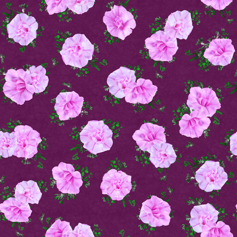 Pink Callies on Plum Medium fabric by andrusgardens on Spoonflower - custom fabric