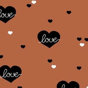 Sweet little lovers hearts romantic confetti valentine love print copper brown