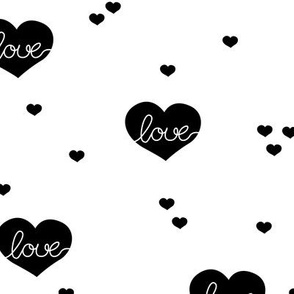 Sweet little lovers hearts romantic confetti valentine love print black and white