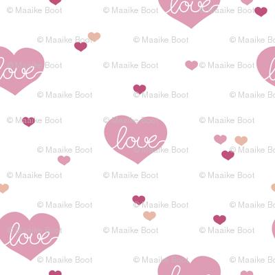 Sweet little lovers hearts romantic confetti valentine love nursery print pink