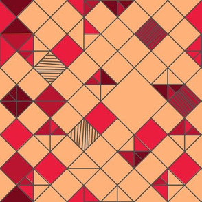 square grid in peach and fuschia