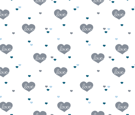 Sweet little lovers hearts romantic confetti valentine love nursery print blue fabric by littlesmilemakers on Spoonflower - custom fabric