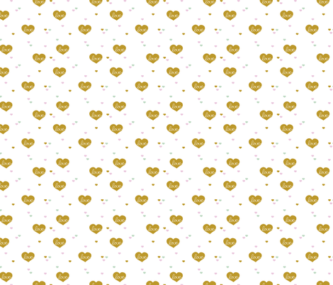 Sweet little lovers hearts romantic confetti valentine love nursery print colorful mustard fabric by littlesmilemakers on Spoonflower - custom fabric