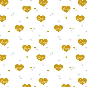 Sweet little lovers hearts romantic confetti valentine love nursery print colorful mustard