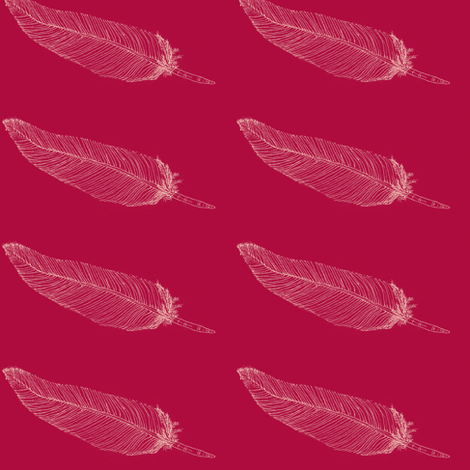 Whispering Feather-Whispering lemonOnVibrantRed- fabric by cloudsong_art on Spoonflower - custom fabric
