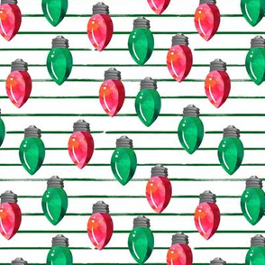 "6"" Christmas Lights // Red and Green // Green Stripes"