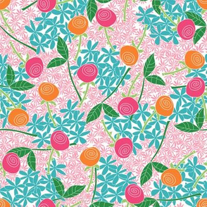 Rose Garden (pinks, blue, greens and orange)