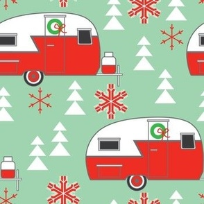 large christmas trailers on green
