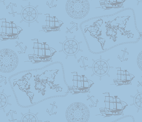 Sailing to the edge of the world Blue fabric by jaanahalme on Spoonflower - custom fabric