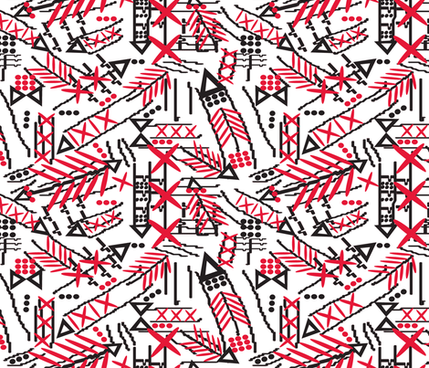 african tribal arrows red_black_on white-ed fabric by lorloves_design on Spoonflower - custom fabric