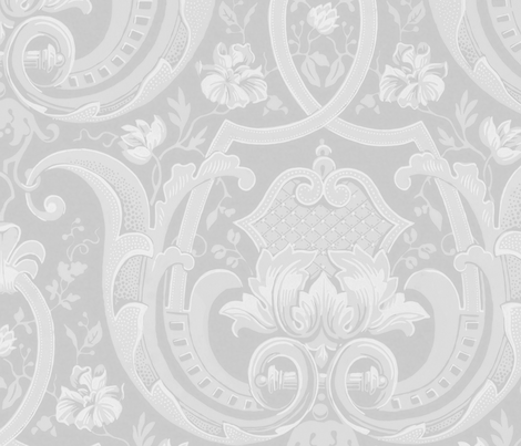 Adelaide Damask ~ Greyscale ~ Original   fabric by peacoquettedesigns on Spoonflower - custom fabric