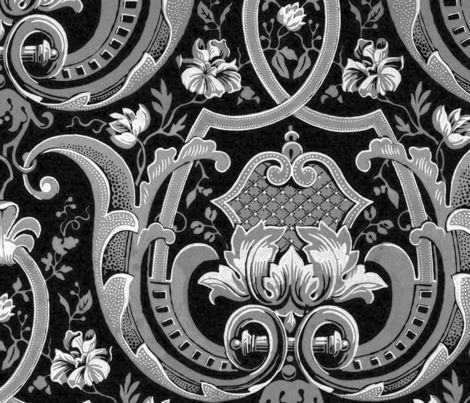 Adelaide Damask ~ Black and White fabric by peacoquettedesigns on Spoonflower - custom fabric