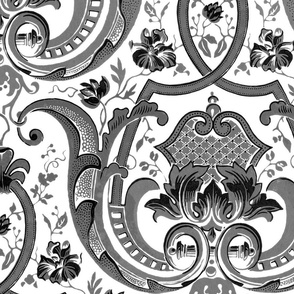 Adelaide Damask ~ White and Black