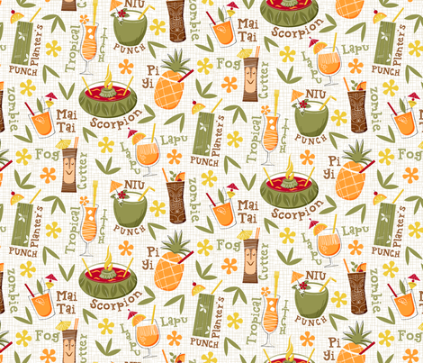 Luau Hawaiian Cocktails_pattern fabric by mia_valdez on Spoonflower - custom fabric
