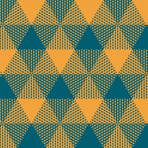 triangle gingham - lagoon teal and saffron yellow