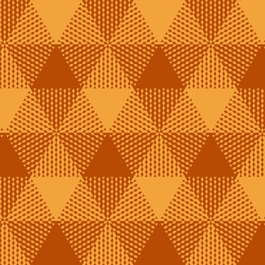 triangle gingham - terracotta orange and saffron gold