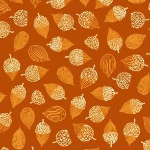 large acorns on terracotta orange