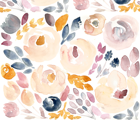 Soft Floral Fall Watercolor  fabric by smallhoursshop on Spoonflower - custom fabric