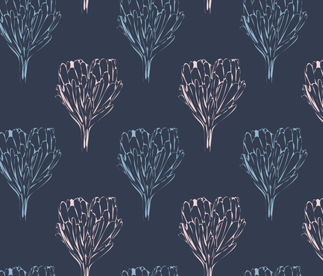 Double Protea Outline Mod Navy Pink-01 fabric by gingercreations on Spoonflower - custom fabric