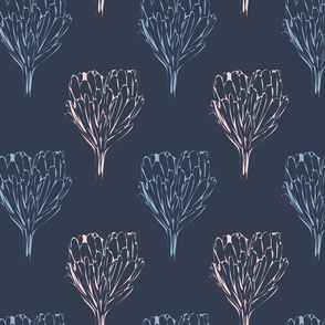 Double Protea Outline Mod Navy Pink-01
