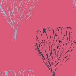 Double Protea Outline Mod Coral Blues-01