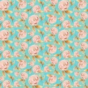 "Romantic Blush/Gold Roses Glitter aqua small size 1"""