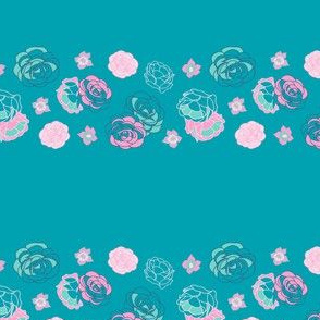 Green Pink Rose Border on Stripes