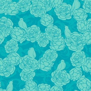 Birds on Roses Green  Pattern