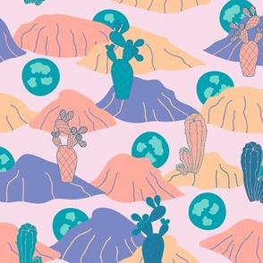 Green Desert Sunset with Cactus and Succulents Pattern