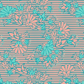 Green Turquoise Flowers on Stripes