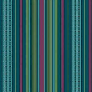 Madras Stripe- plum and evergreen