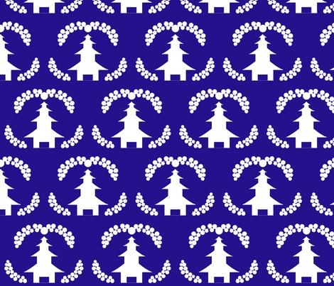 pagoda in blue fabric by kae50 on Spoonflower - custom fabric