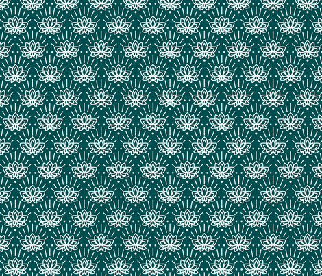 Lotus in Green fabric by house_designer on Spoonflower - custom fabric