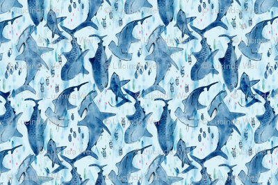 Swimming with the Sharks (tea towel)- © Lucinda Wei