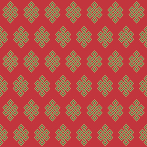 Celtic Knots- gold and green on red
