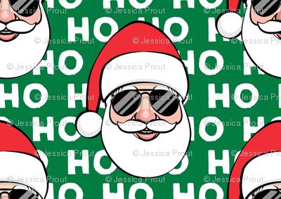 Santa Claus w/ sunnies - HO HO HO green - Christmas