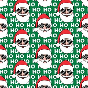 Santa Claus w/ sunnies - HO HO HO green - Christmas