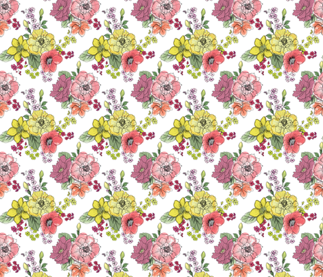 Mini Watercolor Flowers on White fabric by fabric_is_my_name on Spoonflower - custom fabric