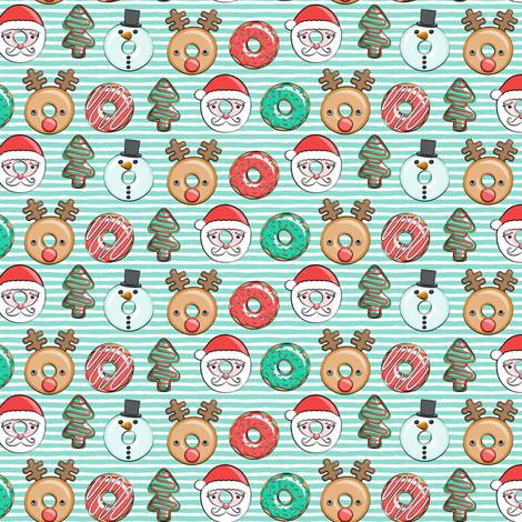 "(1"" scale) Christmas donuts - Santa, Christmas tree, reindeer - dark aqua stripes C18BS fabric by littlearrowdesign on Spoonflower - custom fabric"