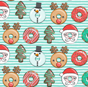 "(1"" scale) Christmas donuts - Santa, Christmas tree, reindeer - dark aqua stripes C18BS"